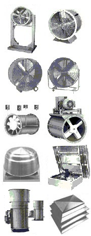 Industrial tubeaxial and vanexial inline axial flow fans, blowers, ventilators.