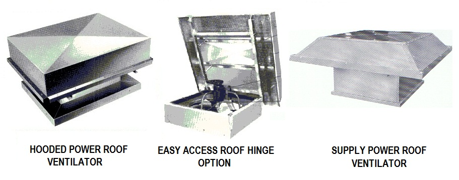 Industrial axial hooded roof ventilators.