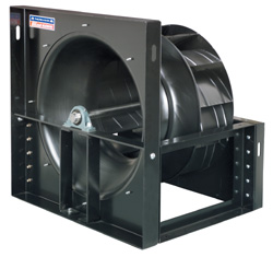 Industrial air handling plenum ventilators and air makeup fan blower components with airfoil wheel impellers.