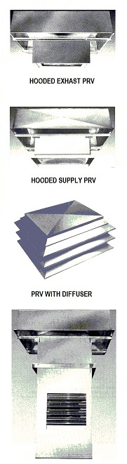 Hooded power roof ventilator fans - exhaust and supply.